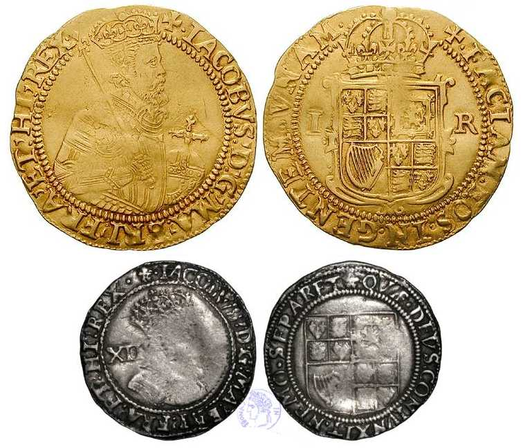Crown and Shilling issued by King James I